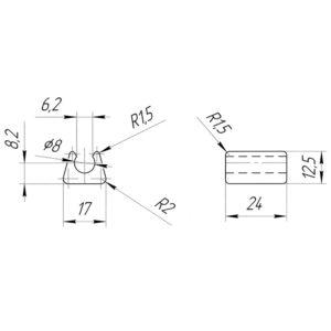 Подпятник под трубу/пруток 8 мм